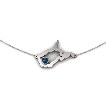 Sterling Silver Heart in West Virginia Necklace, with Heart Shape Synthetic Alexandrite