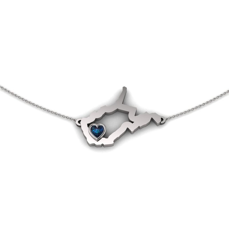 Heart in WV Sterling Silver Heart in West Virginia Necklace, with Heart Shape Synthetic Alexandrite