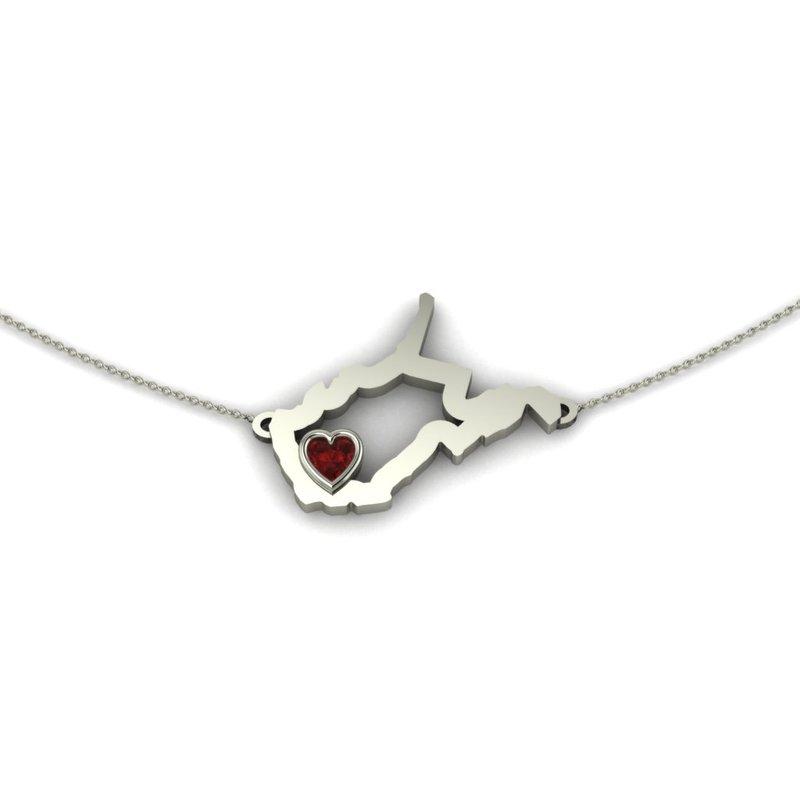 Heart in WV Sterling Silver Heart in West Virginia Necklace, with Heart Shape Garnet