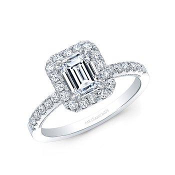 Proposal Ready 1/2 Carat Emerald Shape Center Diamond Halo Engagement Ring