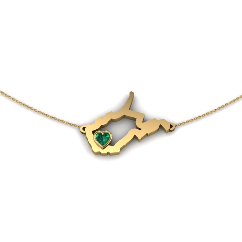 Heart in WV 14K Yellow Gold Heart in West Virginia Necklace, with Heart Shape Emerald