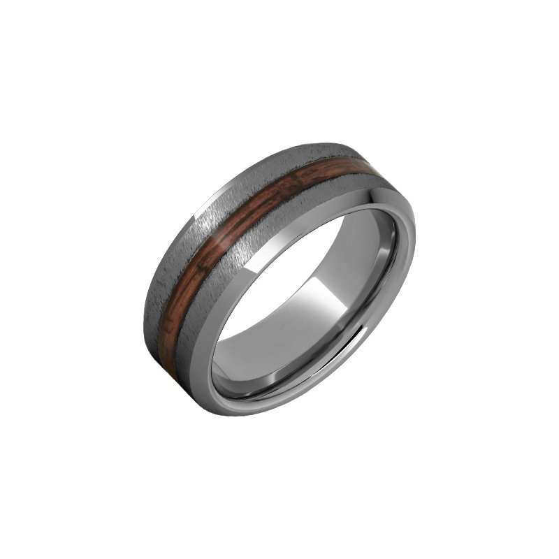 Calvin Broyles Barrel Aged Tungsten Beveled Edge Wedding Band with Cabernet Barrel Aged™ Inlay and Grain Finish