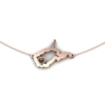 14 Karat Rose Gold Heart in West Virginia Necklace, with Heart Shape Outline