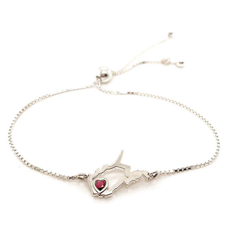 Heart in WV Sterling Silver Heart in West Virginia Bolo Bracelet with Heart Shape Ruby