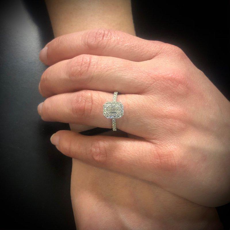 Calvin Broyles Proposal Ready 3/4 Carat Emerald Shape Center Diamond Halo Engagement Ring