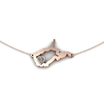 14 Karat Rose Gold Heart in West Virginia Necklace, with Heart Shape White Sapphire