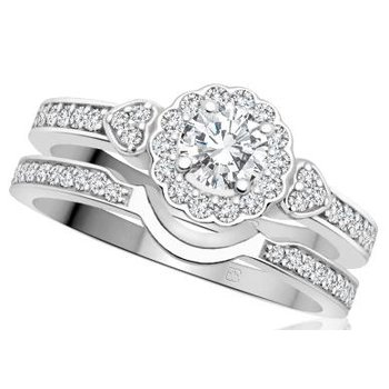 White Gold Halo Design Engagement Ring