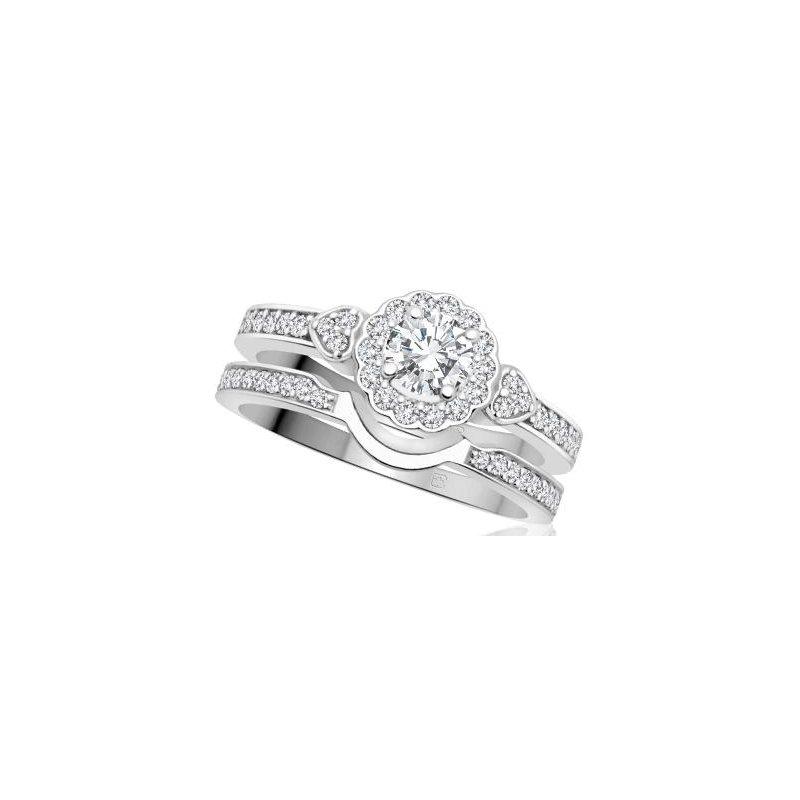 Maple Leaf Diamonds White Gold Halo Design Engagement Ring