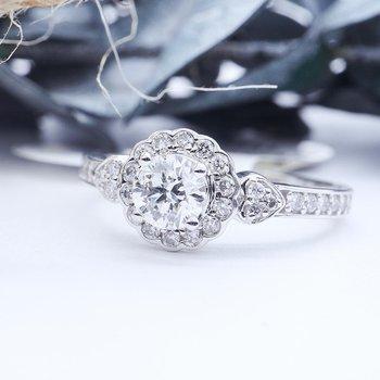 White Gold Halo Design Engagement Ring