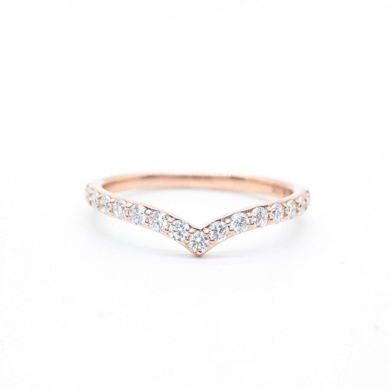 Diamond Days Rose Gold V-Shaped Diamond Ring