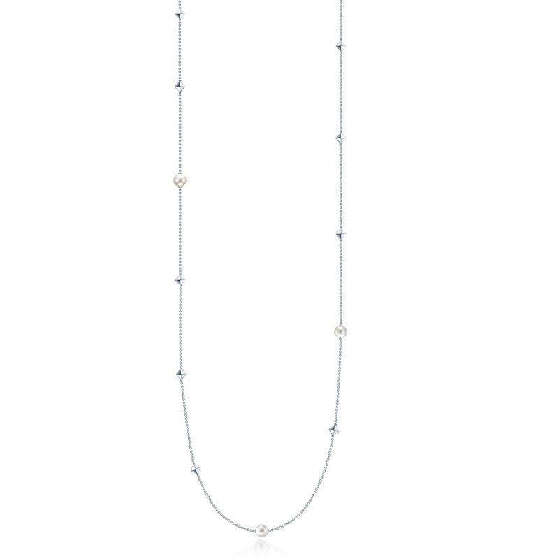 """BIRKS ROCK & PEARL- 36"""" Silver and Pearl Necklace"""