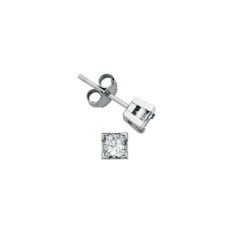 Maple Leaf Diamonds 1.00CTW Princess-Cut Diamond Solitaire Earrings