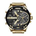 Diesel Black Face- Gold-Tone Watch