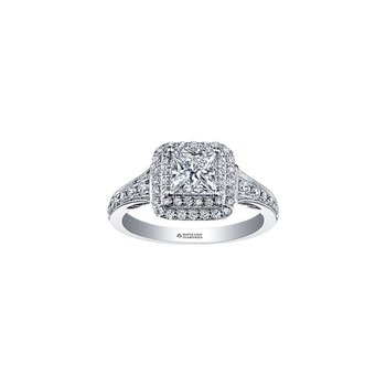 Princess-Cut Halo Engagement Ring
