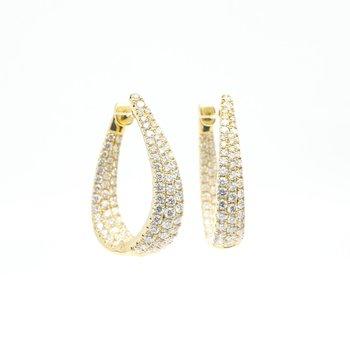 Yellow Gold Fancy Hoop Diamond Earrings
