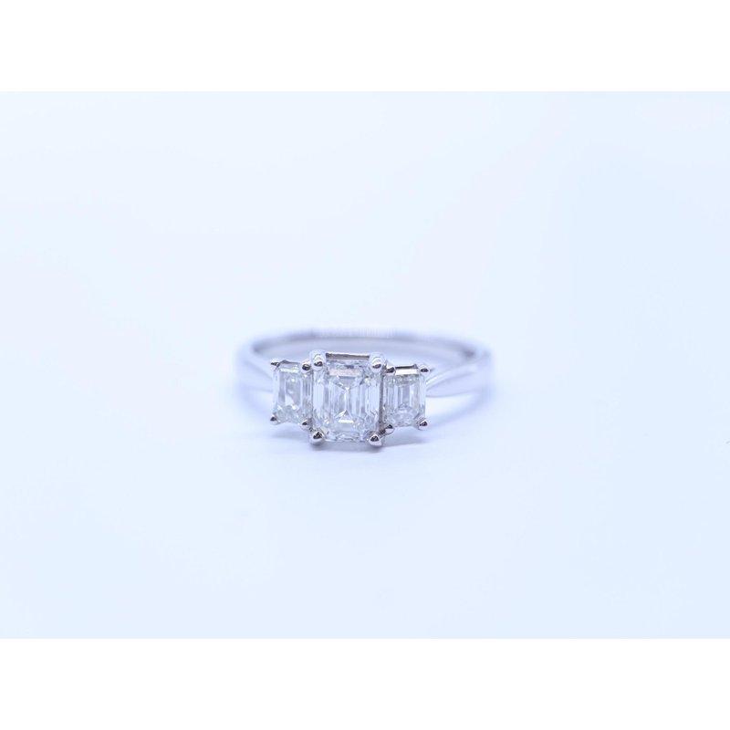 Maple Leaf Diamonds Three Stone Emerald-Cut Ring