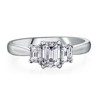 Three Stone Emerald-Cut Ring