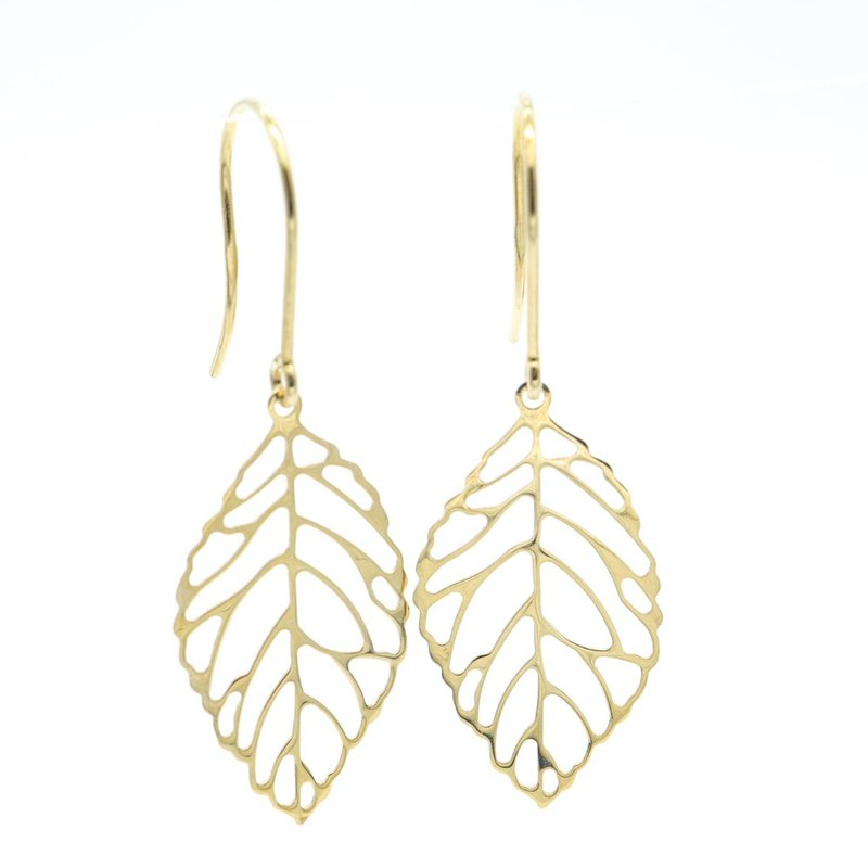 Richardson Signature 14K Yellow Gold Leaf Earrings