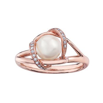 Rose Gold Cultured Pearl Ring