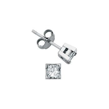 0.20CTW Princess- Cut Diamond Solitaire Earrings