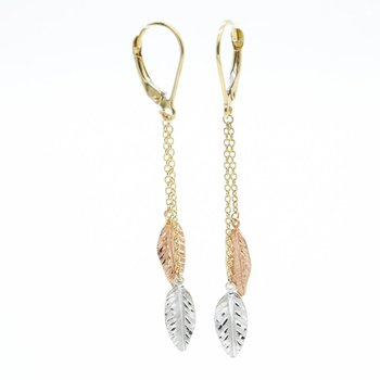 Tri-Gold Leaf Dangle Earrings