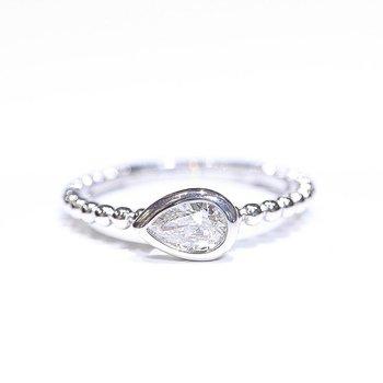 Side-Ways Pear-Shaped Diamond Ring