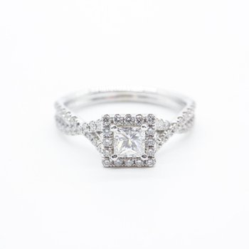 Princess- Cut Halo Diamond Ring