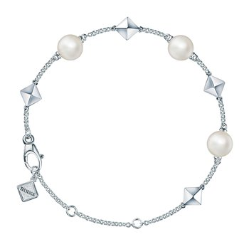 ROCK & PEARL- Freshwater Pearl and Stud Silver Bracelet