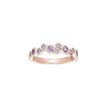 Pink Sapphire & Diamond Bubble Ring