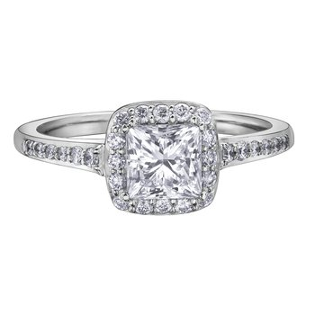 Halo Cushion-Cut Diamond Ring