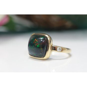 Black Smoke Opal Ring