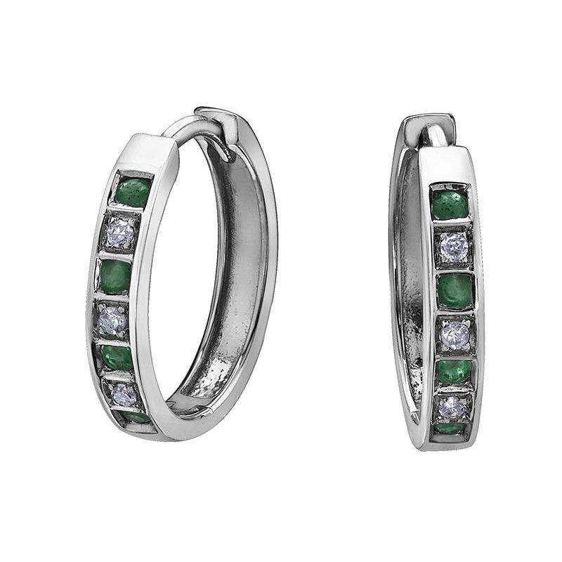 Forever Jewellery Emerald & Diamond Huggies