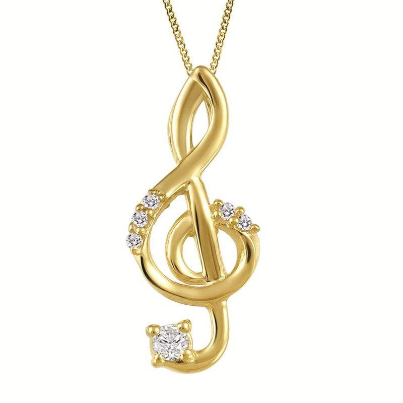 Fire and Ice Treble Clef Pendant
