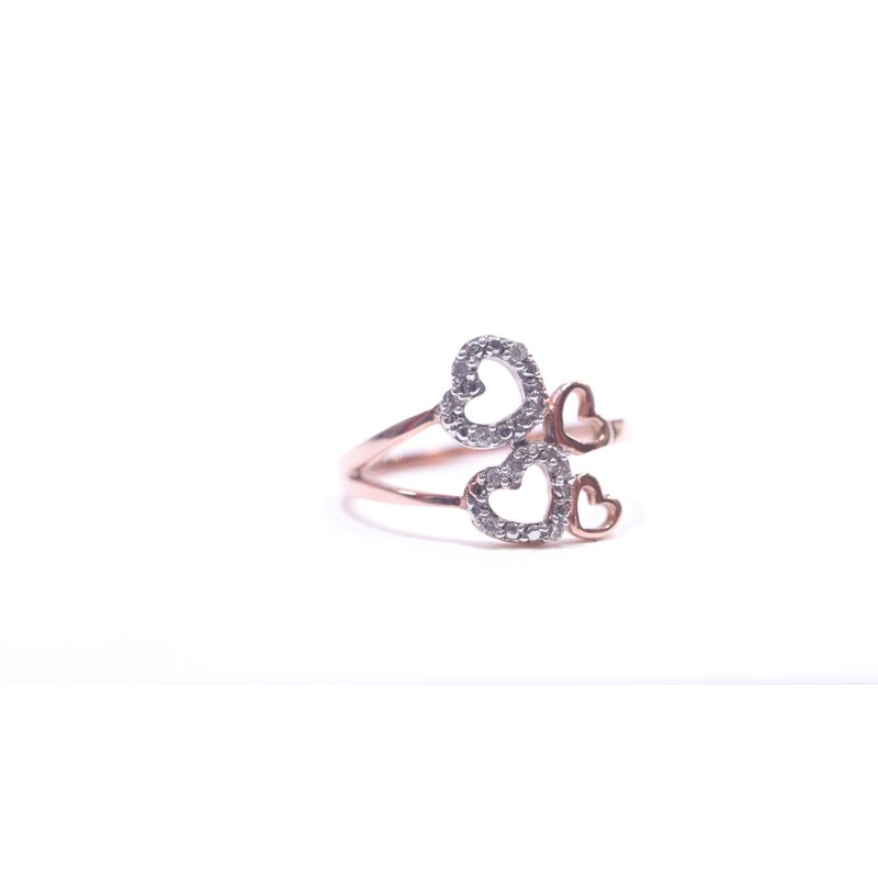 Fire and Ice Rose Gold Heart Ring