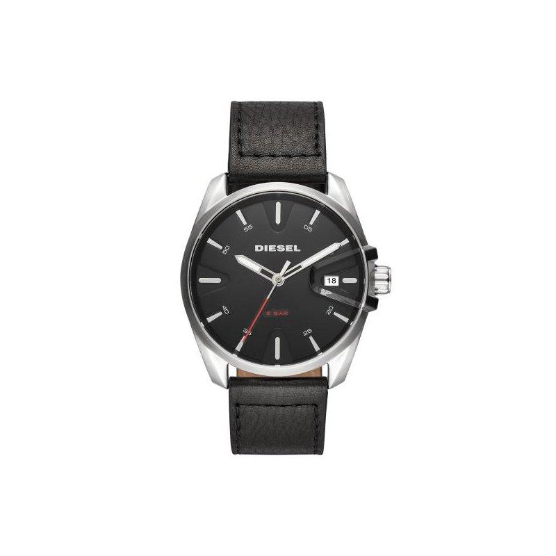 Diesel MS9 Black Leather Strap Watch