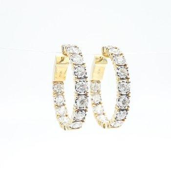 14K Yellow Gold Inside-Outside Diamond Hoop Earrings