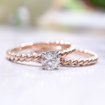 Rose Gold Solitaire Wedding Set