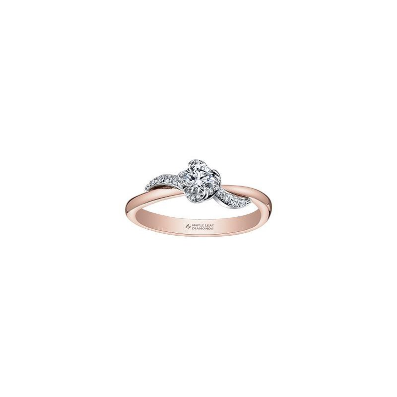 Maple Leaf Diamonds Wind's Embrace Two-Tone Ring