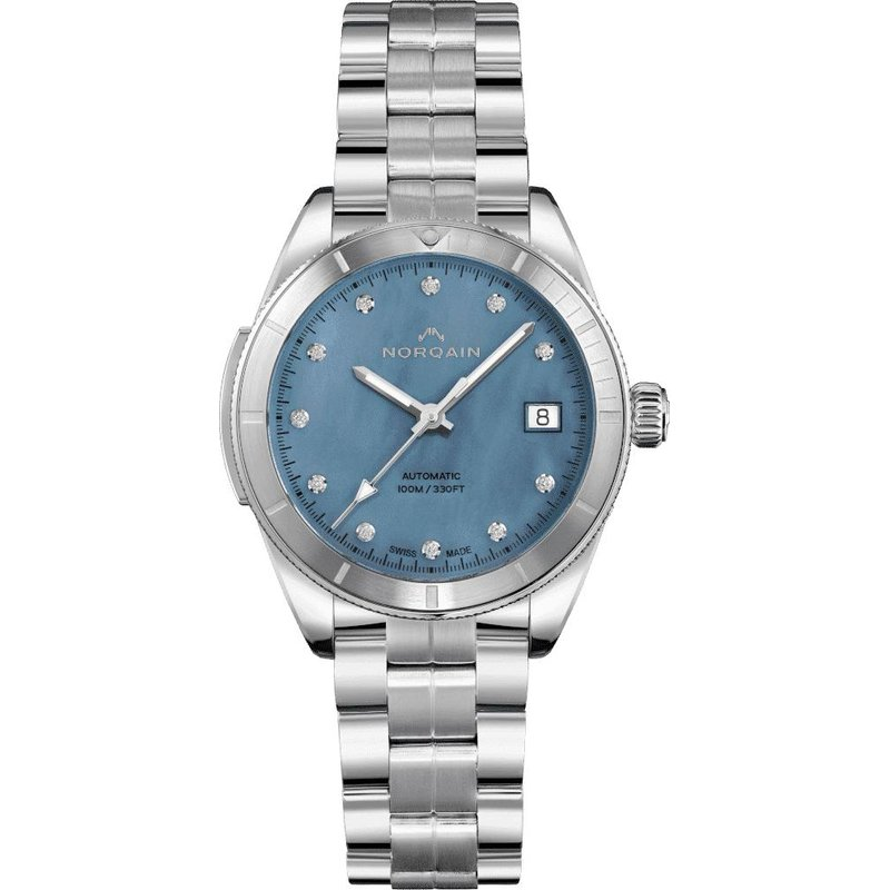 NORQAIN Adventure Sport Lady Auto Steel Bezel Skyblue Mop Dial & Diamond Dial Steel Bracelet