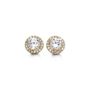 Cubic Zirconia Halo Stud Earrings