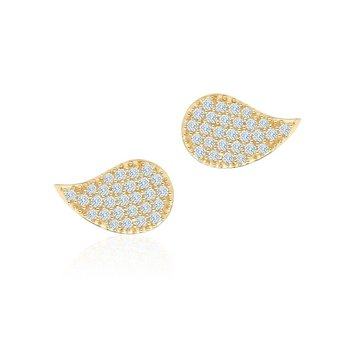 BIRKS PÉTALE- Large Yellow Gold and Diamond Stud Earrings