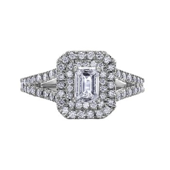 Double Halo Emerald-Cut Diamond Ring