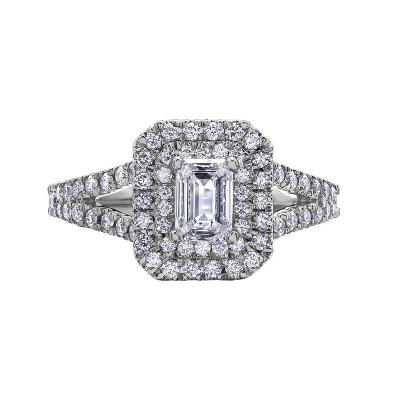 Maple Leaf Diamonds Double Halo Emerald-Cut Diamond Ring