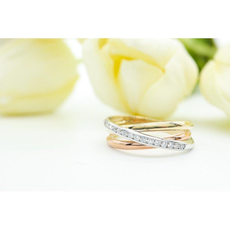 Diamond Days Tri-Gold Diamond Ring