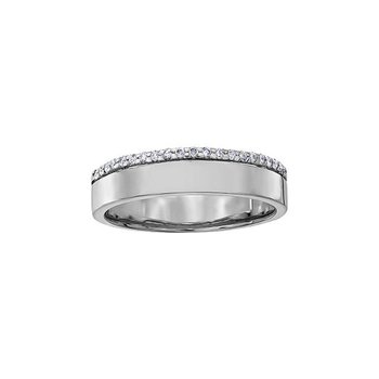 10K White Gold band with Row of Diamonds