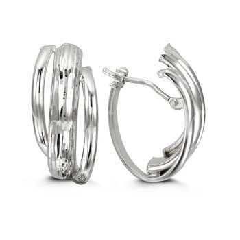 White Gold Three Strand Hoops