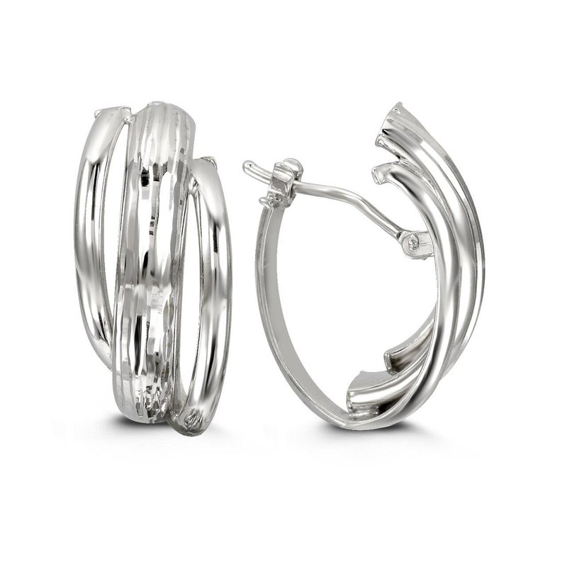 Richardson Signature White Gold Three Strand Hoops
