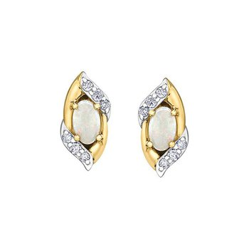 Opal & Diamond Studs