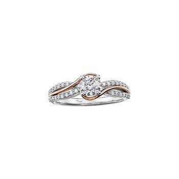 0.52CT Diamond Two-Tone Twist Engagement Ring