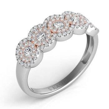 Two-Toned Halo Diamond Ring